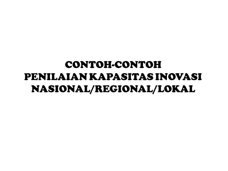 PENILAIAN KAPASITAS INOVASI NASIONAL/REGIONAL/LOKAL