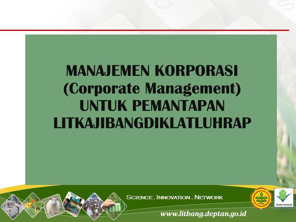 MANAJEMEN KORPORASI (Corporate Management) UNTUK PEMANTAPAN LITKAJIBANGDIKLATLUHRAP