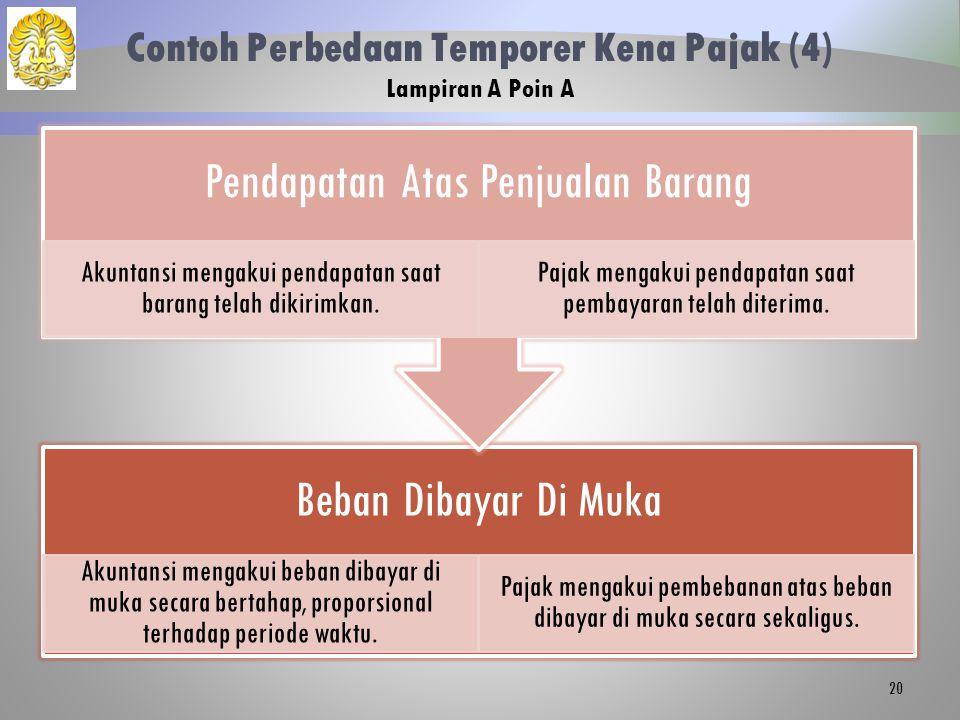 Contoh Perbedaan Temporer Kena Pajak (4) Lampiran A Poin A