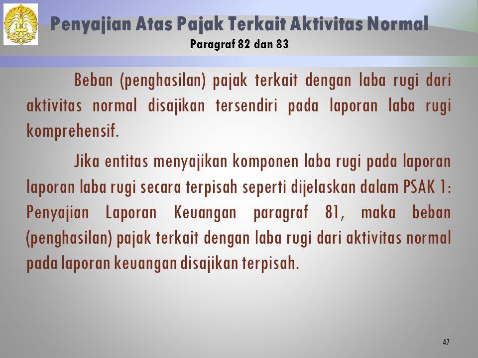 Penyajian Atas Pajak Terkait Aktivitas Normal Paragraf 82 dan 83