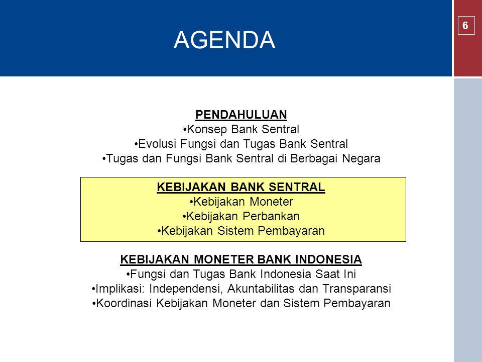 KEBIJAKAN BANK SENTRAL KEBIJAKAN MONETER BANK INDONESIA