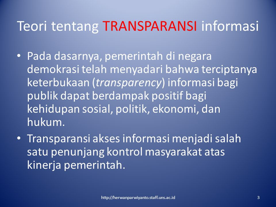 Teori tentang TRANSPARANSI informasi