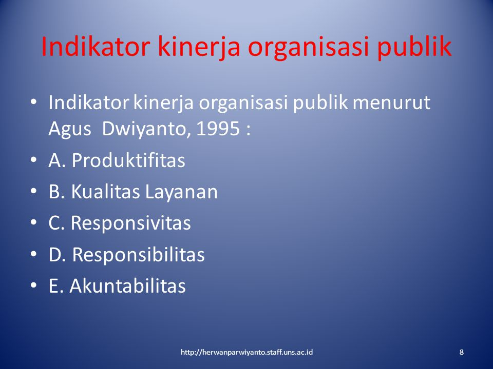 Indikator kinerja organisasi publik