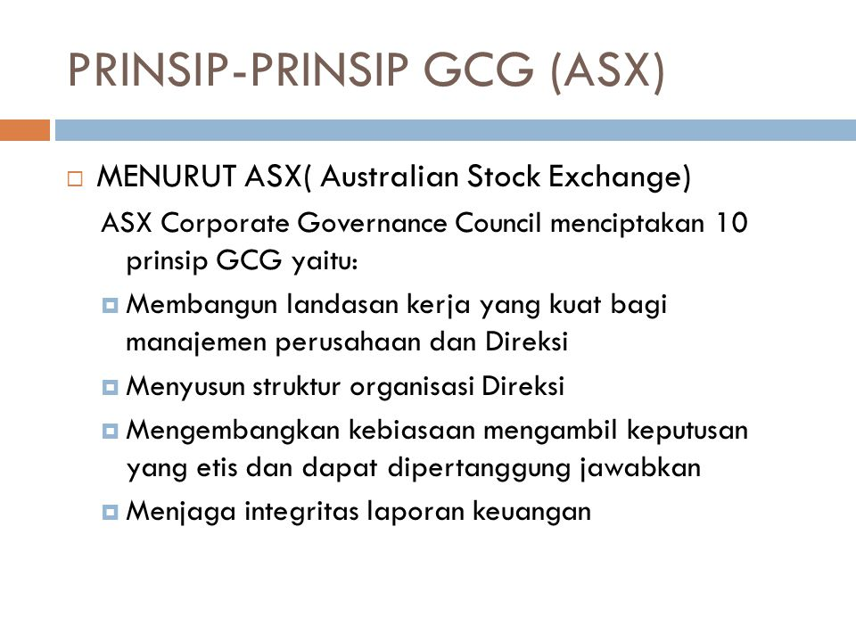 PRINSIP-PRINSIP GCG (ASX)