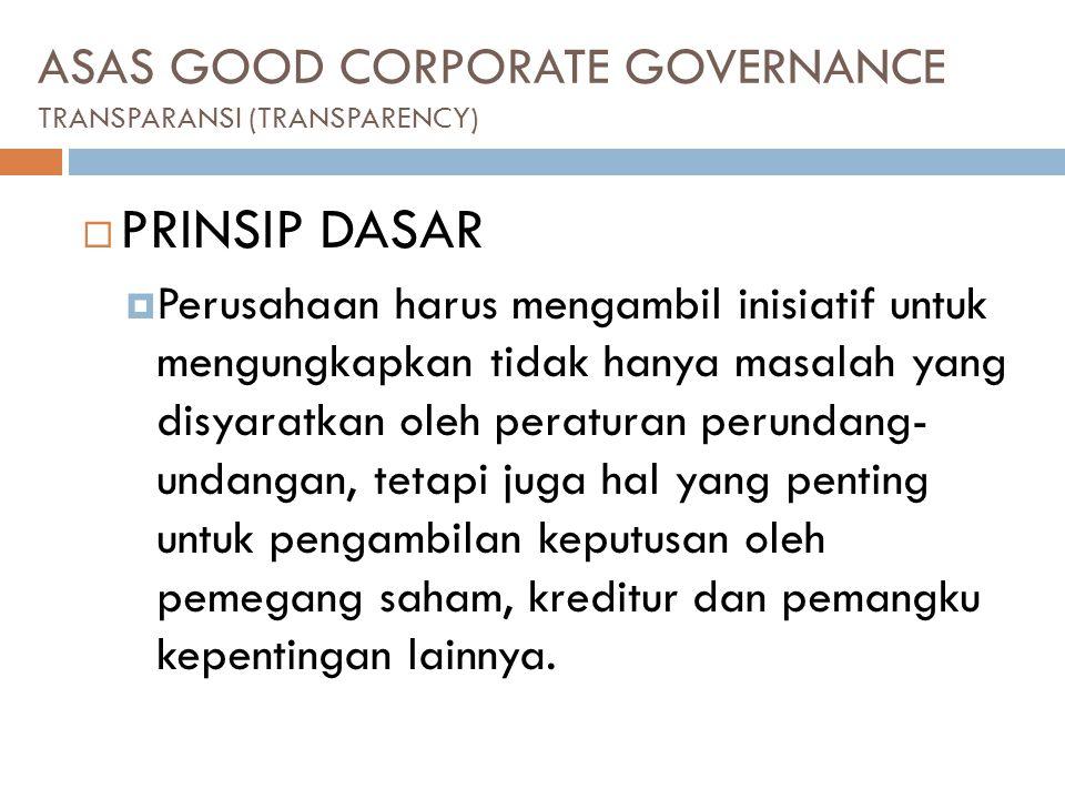 ASAS GOOD CORPORATE GOVERNANCE TRANSPARANSI (TRANSPARENCY)