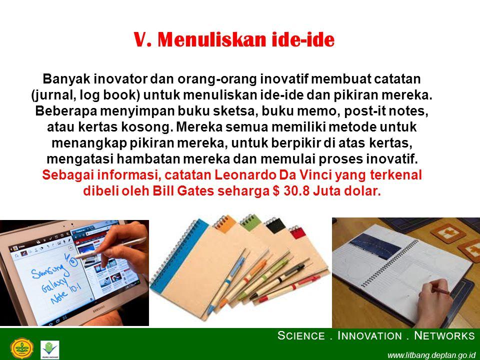 V. Menuliskan ide-ide