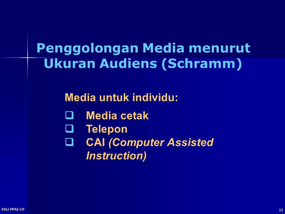 Penggolongan Media menurut Ukuran Audiens (Schramm)