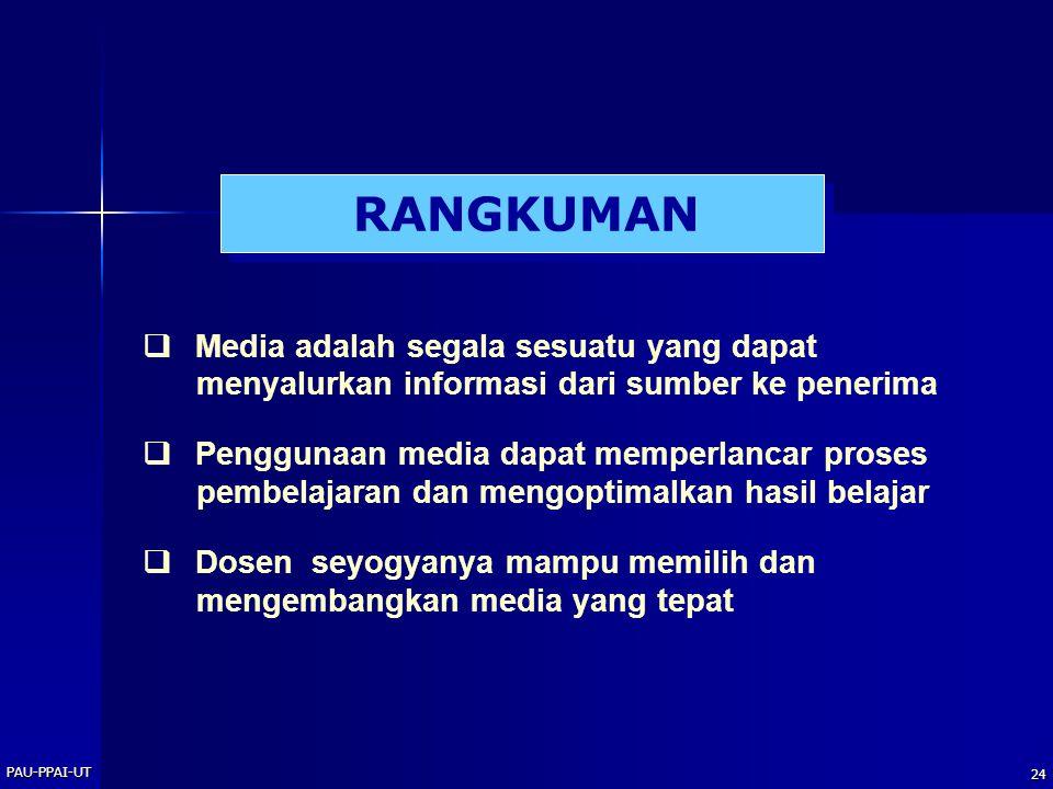 RANGKUMAN  Media adalah segala sesuatu yang dapat menyalurkan informasi dari sumber ke penerima.