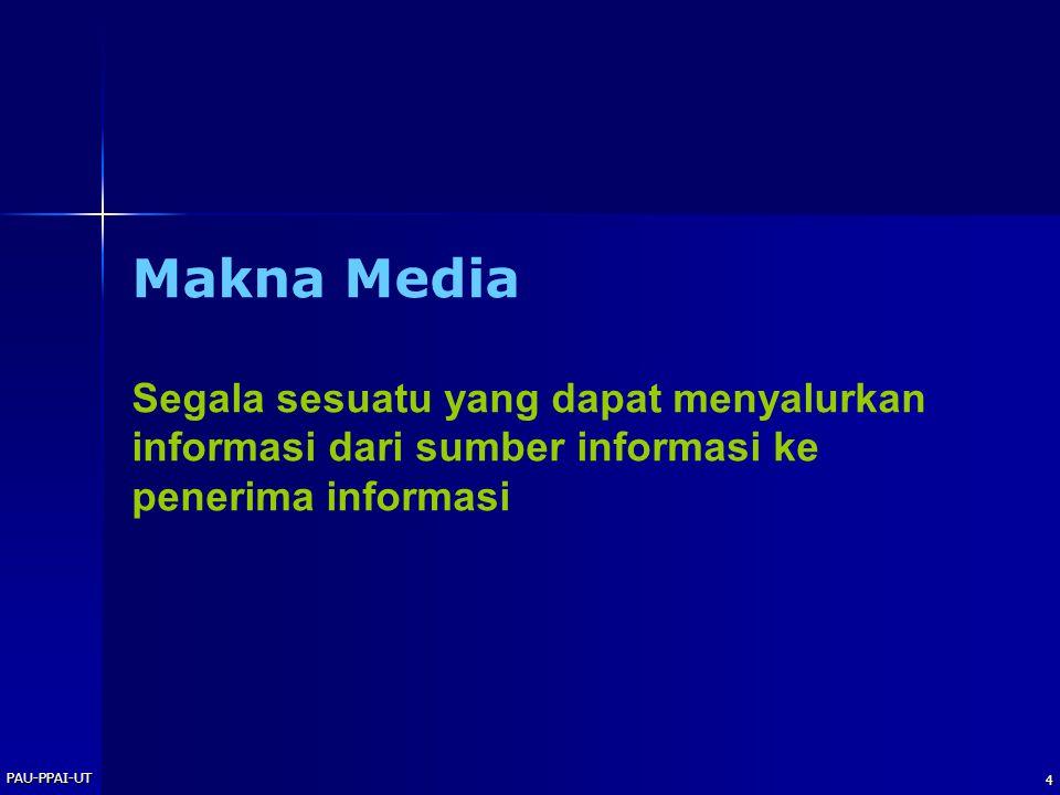 Makna Media Segala sesuatu yang dapat menyalurkan informasi dari sumber informasi ke penerima informasi.