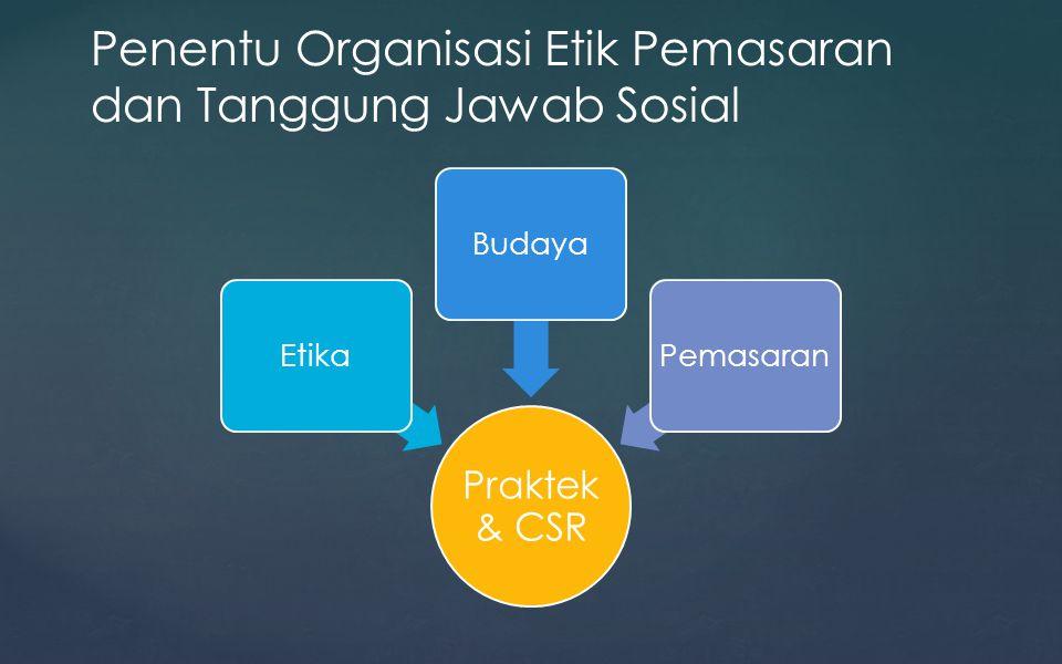 Penentu Organisasi Etik Pemasaran dan Tanggung Jawab Sosial