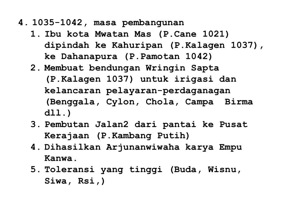 1035-1042, masa pembangunan Ibu kota Mwatan Mas (P.Cane 1021) dipindah ke Kahuripan (P.Kalagen 1037), ke Dahanapura (P.Pamotan 1042)