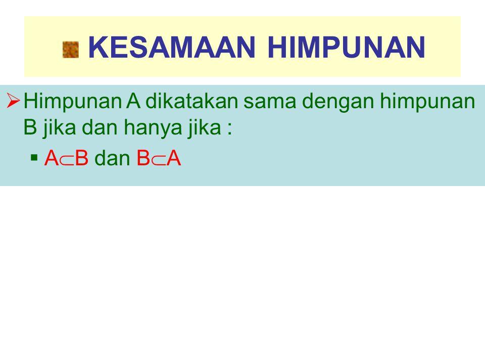 KESAMAAN HIMPUNAN Himpunan A dikatakan sama dengan himpunan B jika dan hanya jika : AB dan BA