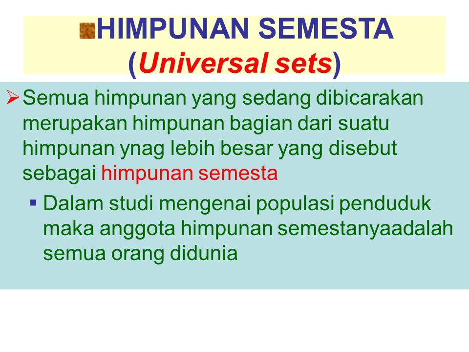 HIMPUNAN SEMESTA (Universal sets)