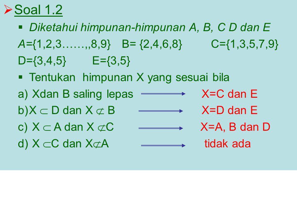 Soal 1.2 Diketahui himpunan-himpunan A, B, C D dan E