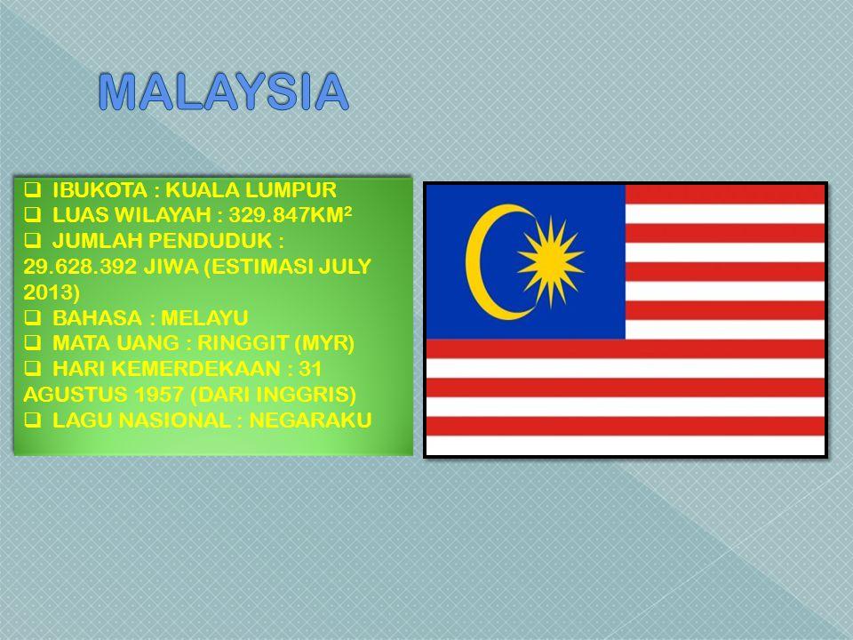 MALAYSIA IBUKOTA : KUALA LUMPUR LUAS WILAYAH : 329.847KM2