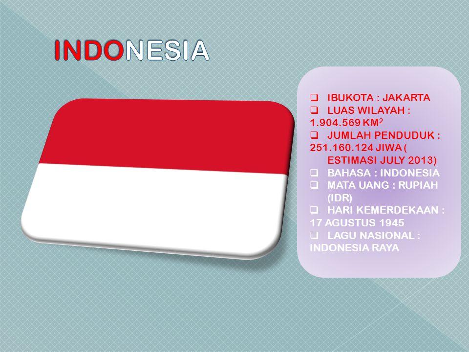 INDONESIA IBUKOTA : JAKARTA LUAS WILAYAH : 1.904.569 KM2
