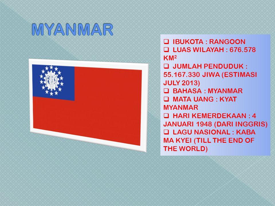 MYANMAR IBUKOTA : RANGOON LUAS WILAYAH : 676.578 KM2