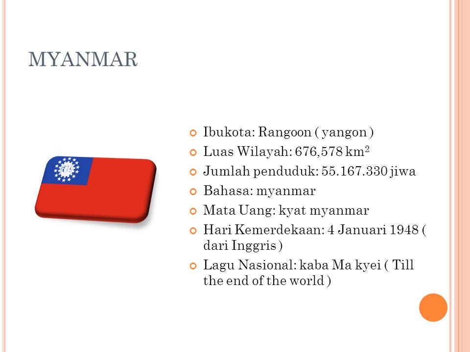 MYANMAR Ibukota: Rangoon ( yangon ) Luas Wilayah: 676,578 km2