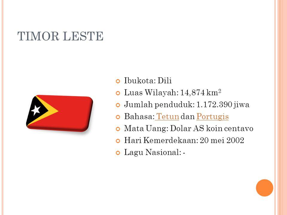 TIMOR LESTE Ibukota: Dili Luas Wilayah: 14,874 km2