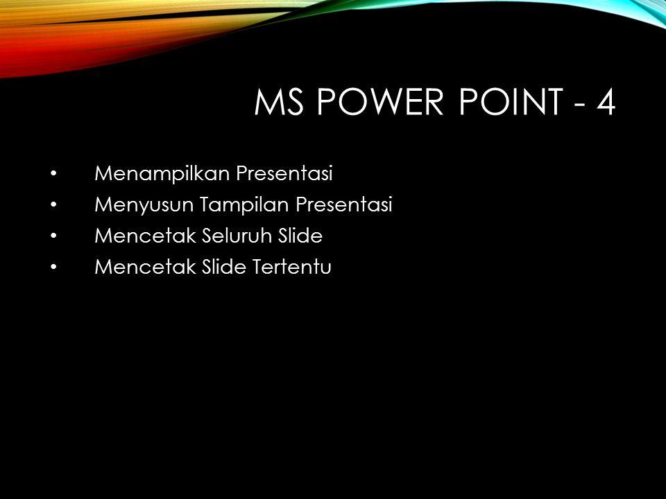 MS Power Point - 4 Menampilkan Presentasi Menyusun Tampilan Presentasi