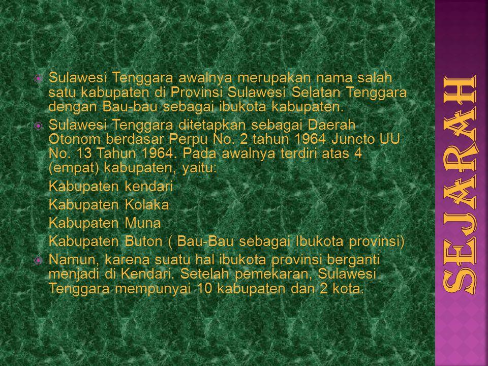 Sulawesi Tenggara awalnya merupakan nama salah satu kabupaten di Provinsi Sulawesi Selatan Tenggara dengan Bau-bau sebagai ibukota kabupaten.