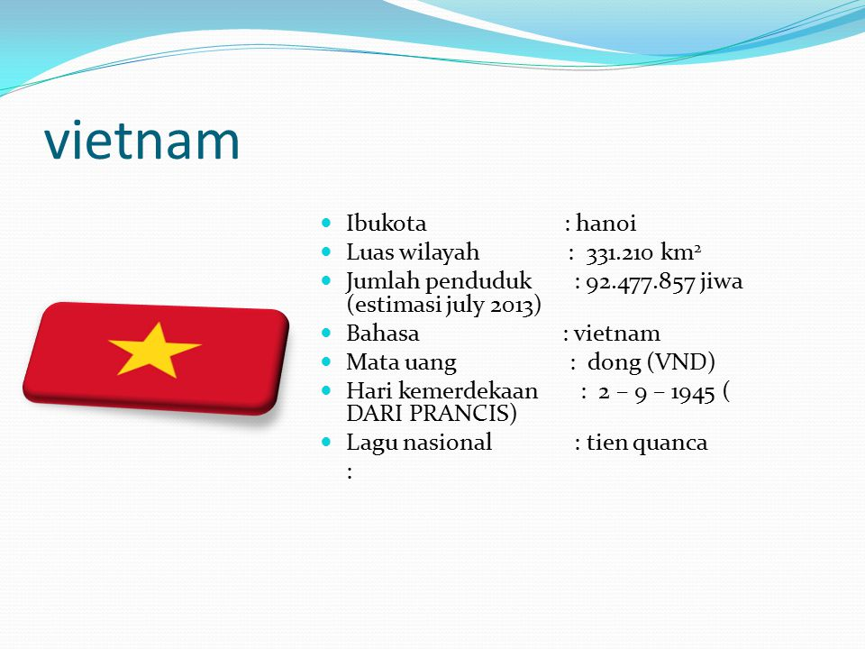 vietnam Ibukota : hanoi Luas wilayah : 331.210 km2