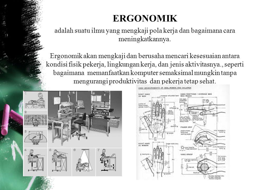 ERGONOMIK adalah suatu ilmu yang mengkaji pola kerja dan bagaimana cara meningkatkannya.