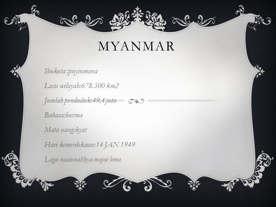 myanmar Ibukota :pnyinmana Luas wilayah:678.500 km2