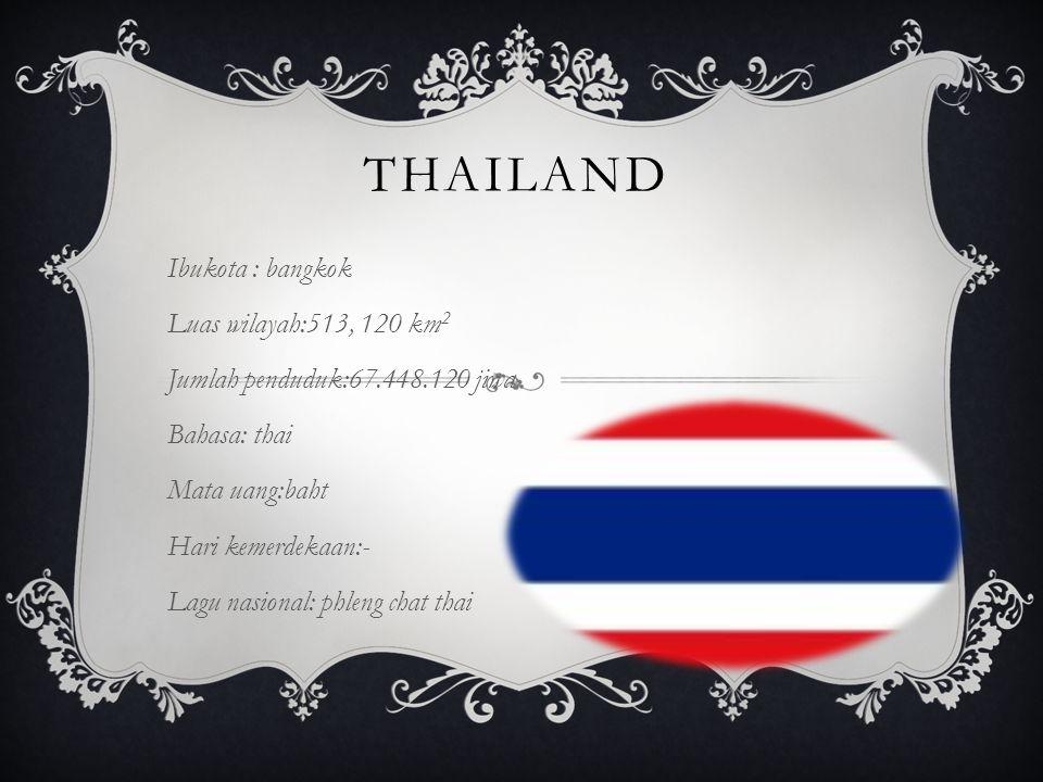 thailand Ibukota : bangkok Luas wilayah:513, 120 km2