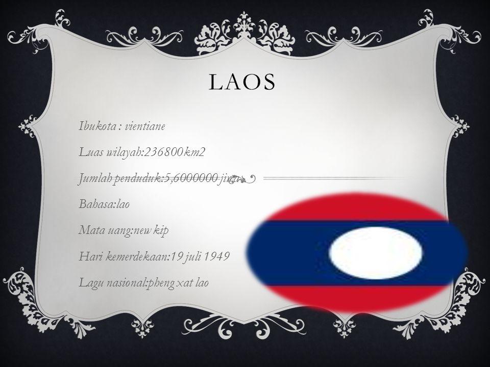 laos Ibukota : vientiane Luas wilayah:236800km2