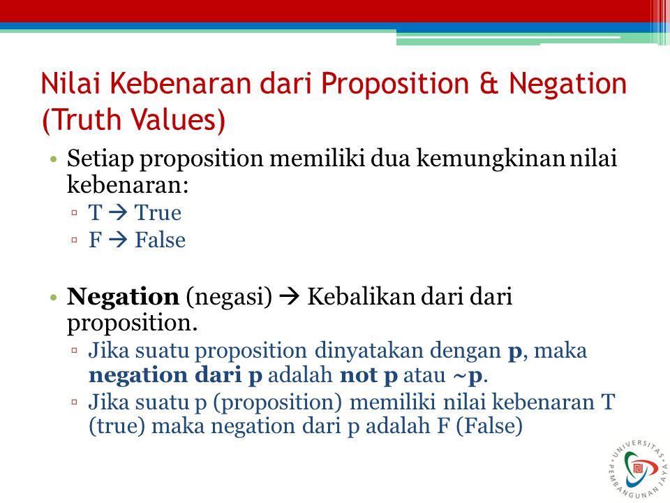 Nilai Kebenaran dari Proposition & Negation (Truth Values)