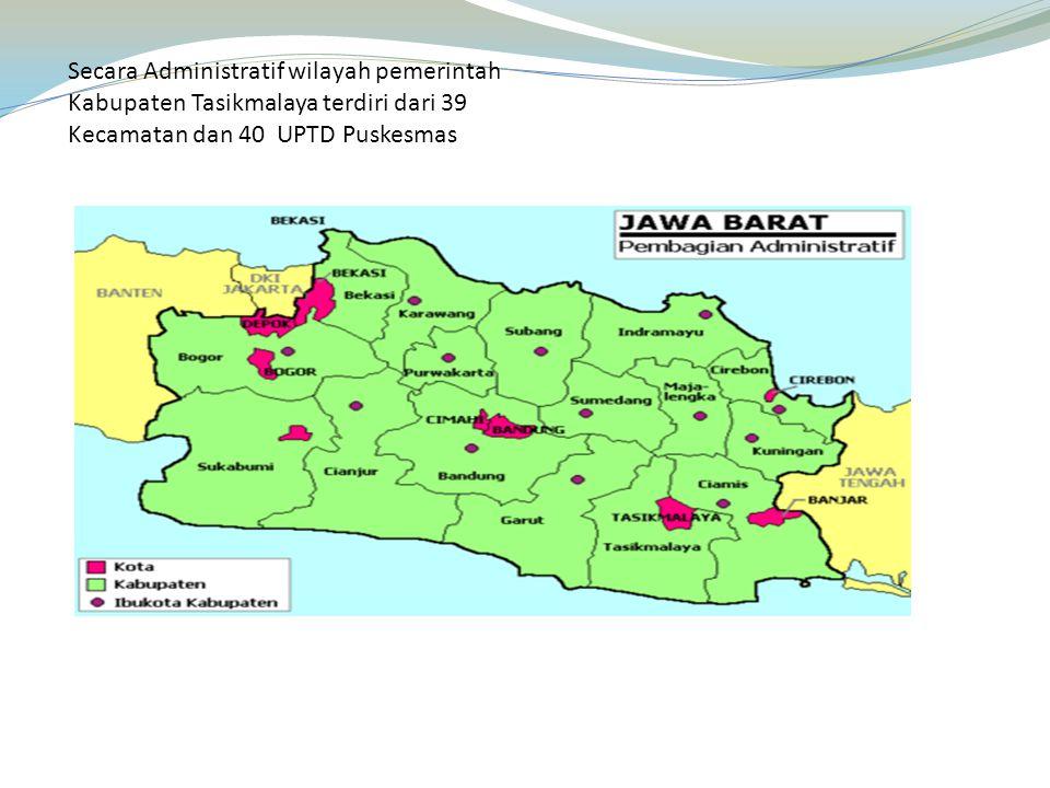 Secara Administratif wilayah pemerintah Kabupaten Tasikmalaya terdiri dari 39 Kecamatan dan 40 UPTD Puskesmas