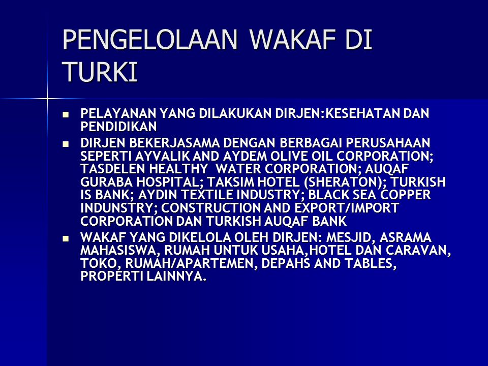 PENGELOLAAN WAKAF DI TURKI
