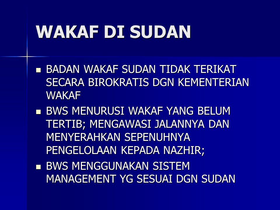 WAKAF DI SUDAN BADAN WAKAF SUDAN TIDAK TERIKAT SECARA BIROKRATIS DGN KEMENTERIAN WAKAF.