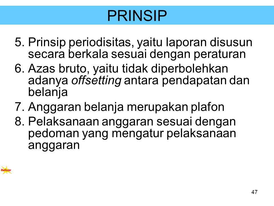 PRINSIP Prinsip periodisitas, yaitu laporan disusun secara berkala sesuai dengan peraturan.