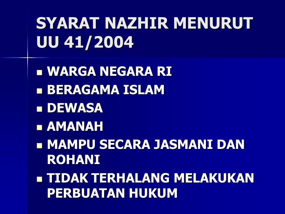SYARAT NAZHIR MENURUT UU 41/2004