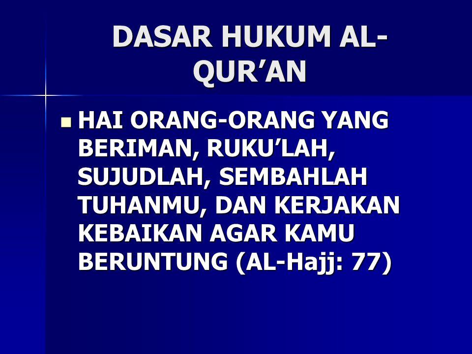 DASAR HUKUM AL-QUR'AN HAI ORANG-ORANG YANG BERIMAN, RUKU'LAH, SUJUDLAH, SEMBAHLAH TUHANMU, DAN KERJAKAN KEBAIKAN AGAR KAMU BERUNTUNG (AL-Hajj: 77)