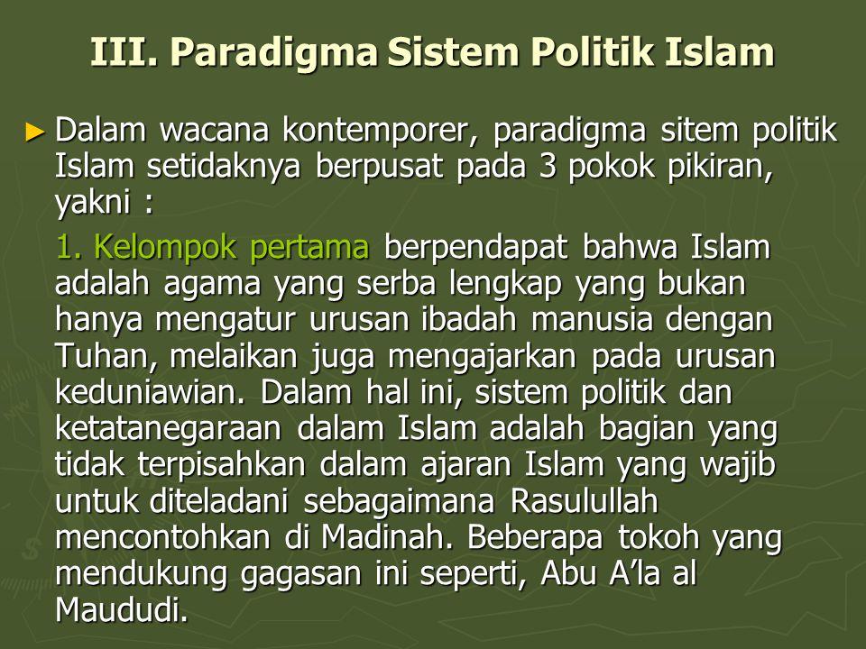 III. Paradigma Sistem Politik Islam