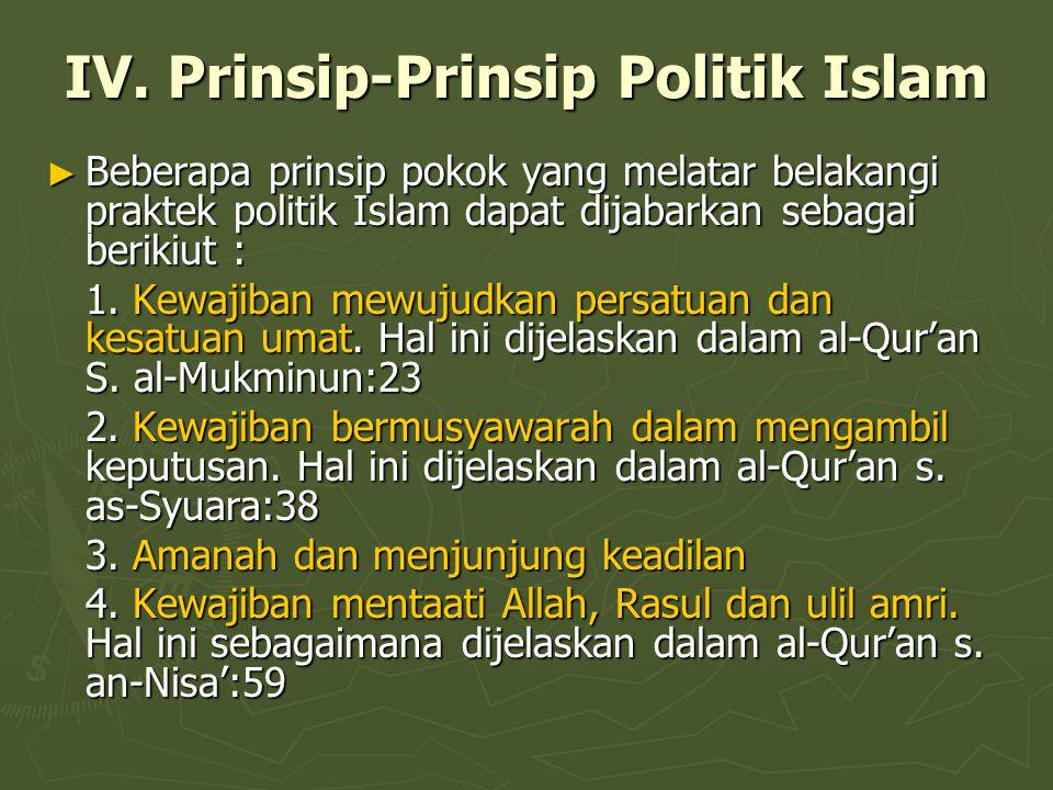 IV. Prinsip-Prinsip Politik Islam