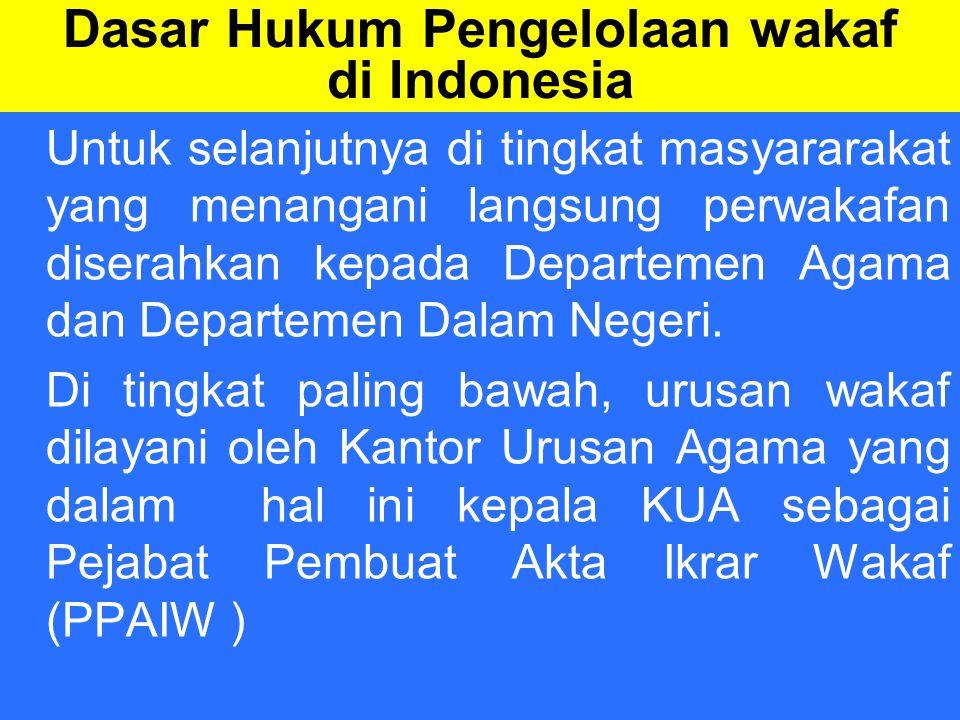 Dasar Hukum Pengelolaan wakaf di Indonesia