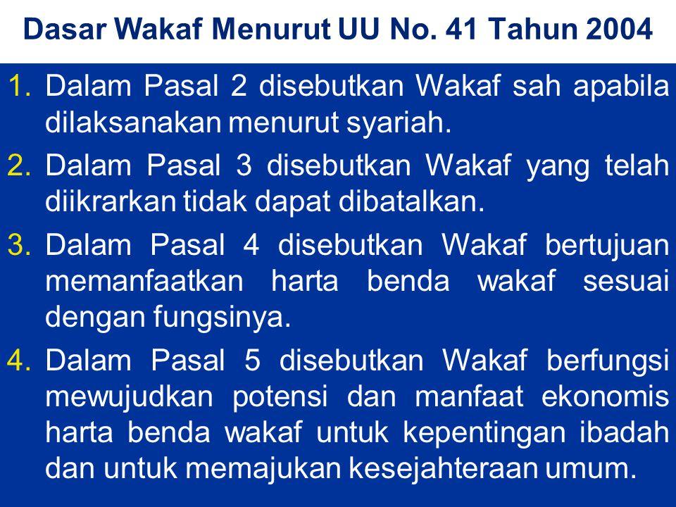 Dasar Wakaf Menurut UU No. 41 Tahun 2004