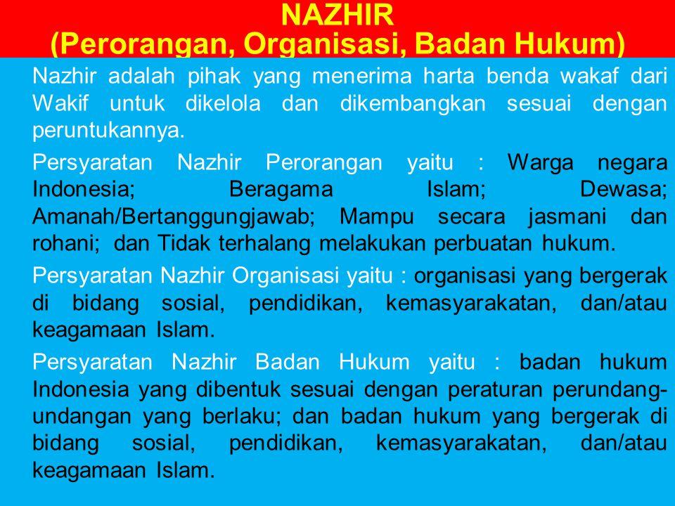 NAZHIR (Perorangan, Organisasi, Badan Hukum)
