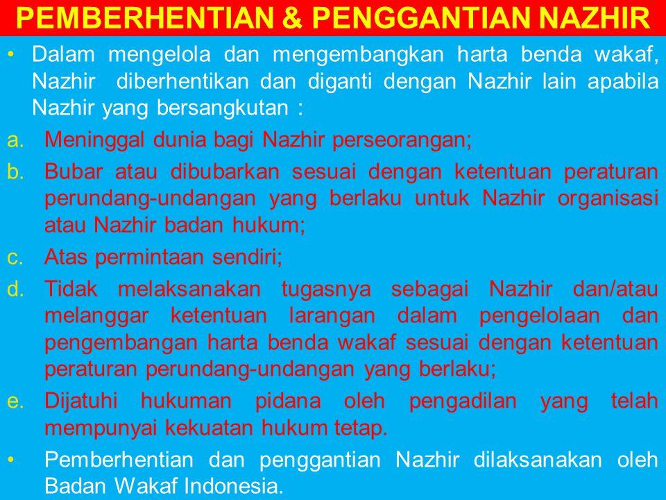 PEMBERHENTIAN & PENGGANTIAN NAZHIR