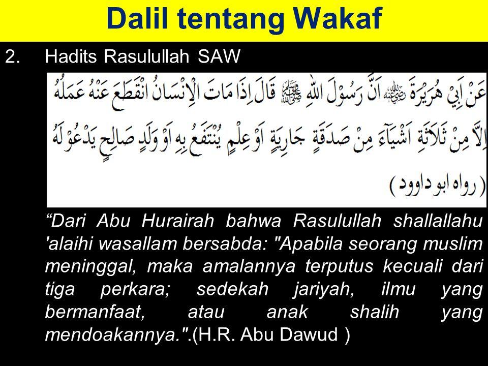 Dalil tentang Wakaf 2. Hadits Rasulullah SAW