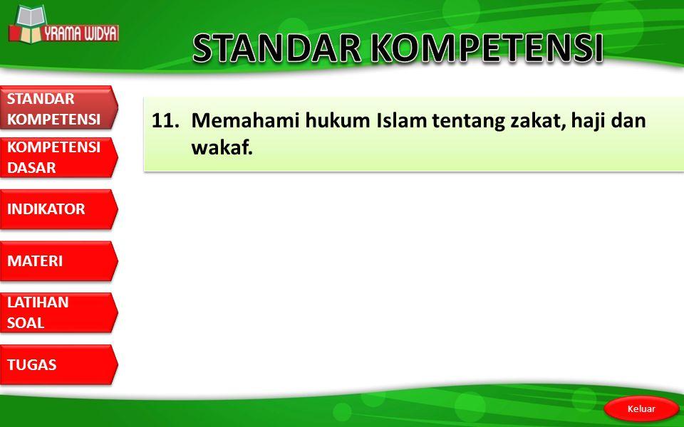 STANDAR KOMPETENSI STANDAR KOMPETENSI 11. Memahami hukum Islam tentang zakat, haji dan wakaf.