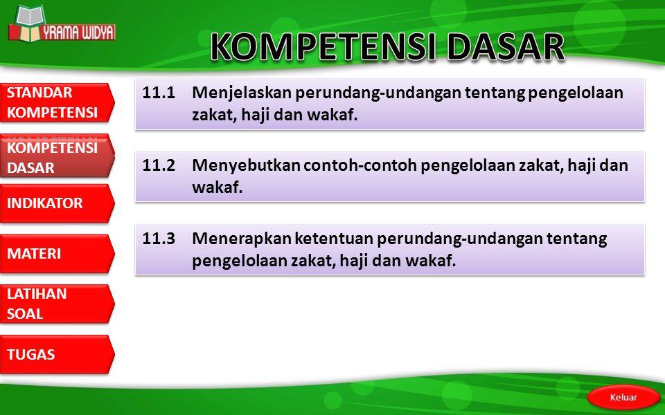 KOMPETENSI DASAR 11.1 Menjelaskan perundang-undangan tentang pengelolaan zakat, haji dan wakaf. KOMPETENSI DASAR.