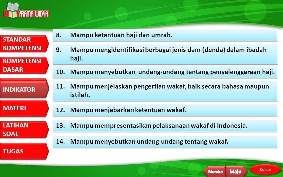 8. Mampu ketentuan haji dan umrah.