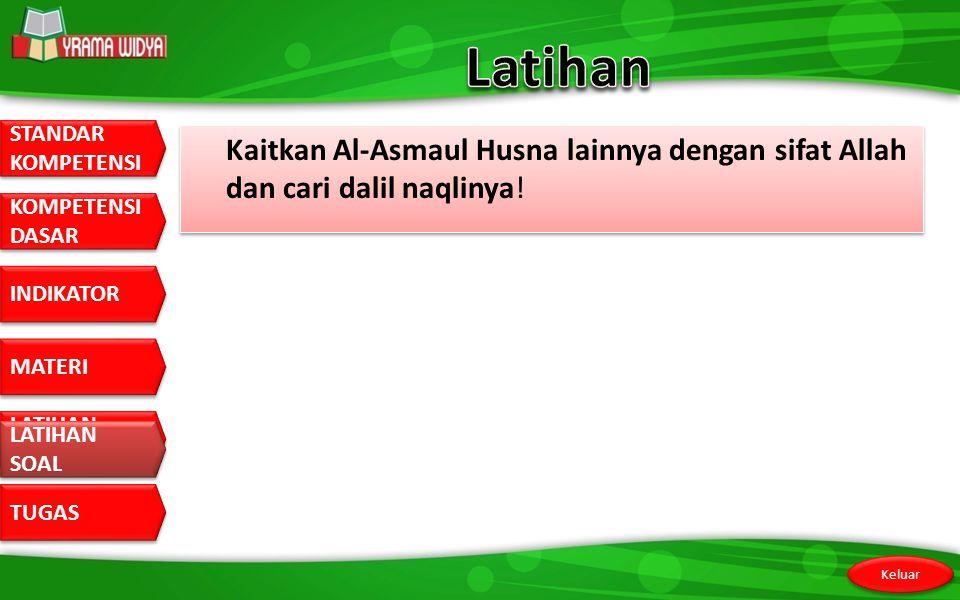 Latihan Kaitkan Al-Asmaul Husna lainnya dengan sifat Allah dan cari dalil naqlinya! LATIHAN SOAL