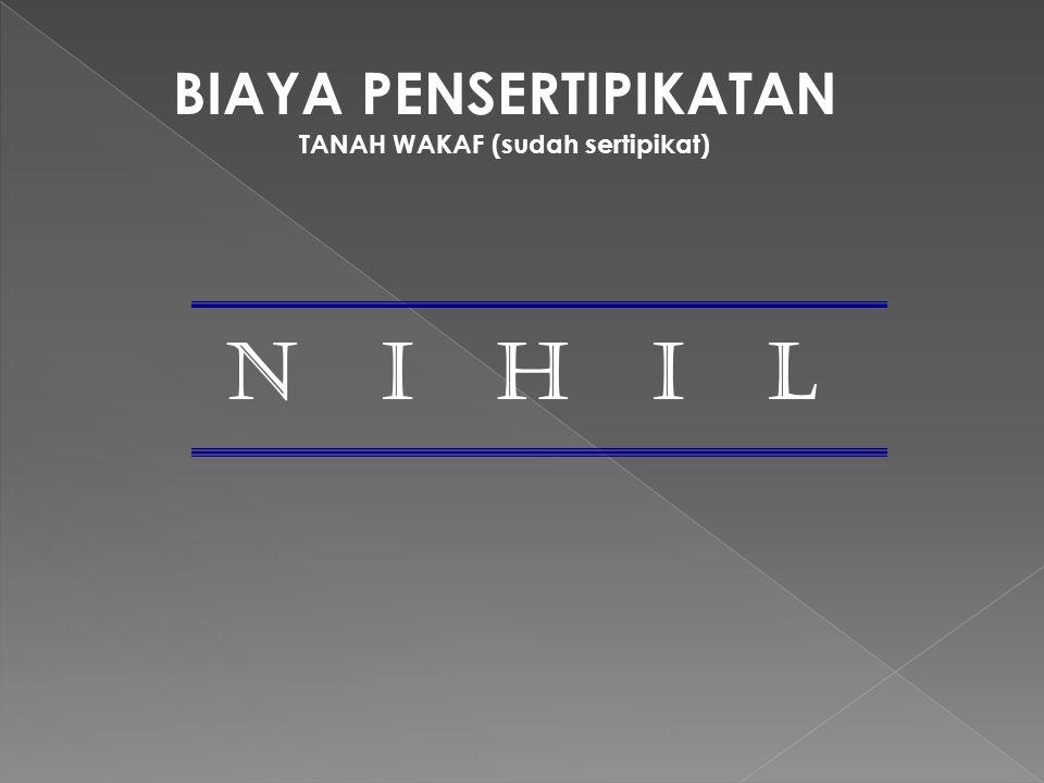 BIAYA PENSERTIPIKATAN TANAH WAKAF (sudah sertipikat)
