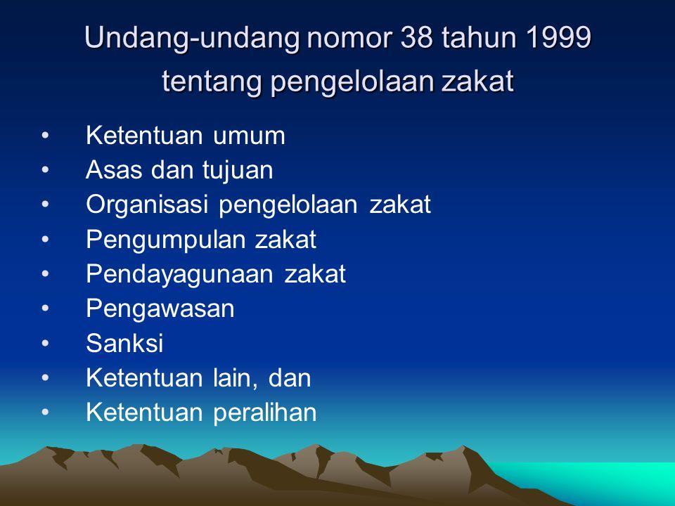 Undang-undang nomor 38 tahun 1999 tentang pengelolaan zakat